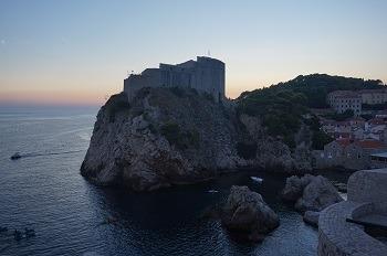 Coucher de soleil remparts Dubrovnik, Croatie